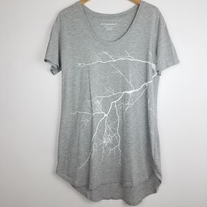 Norma Kamali | Gray T Shirt w Lightning Graphic